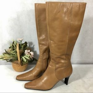Anne Klein leather tall zip boots size 8 tan nice